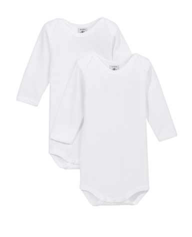 Petit Bateau 2 Pack Long Sleeve Crewneck Bodysuit White
