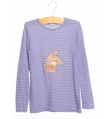 Siaomimi Unicorn Tee - Navy Stripe