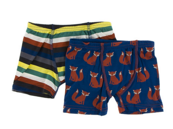 Kickee Pants Boxer Briefs Set Dark London Stripe & Navy Fox