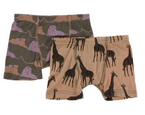Kickee Pants Boxer Briefs Set Lions and suede giraffes