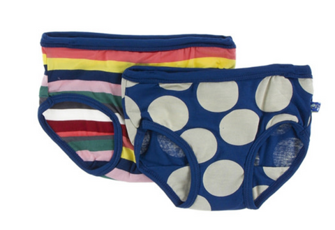 Kickee Pants Girl Underwear Set Bright London Stripe & Navy Mod Dot
