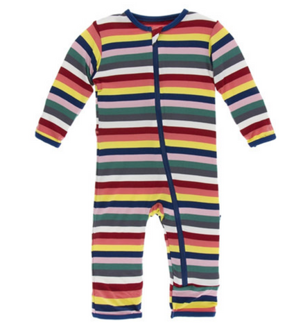 Kickee Pants Print Coverall with Zipper Bright London Stripe