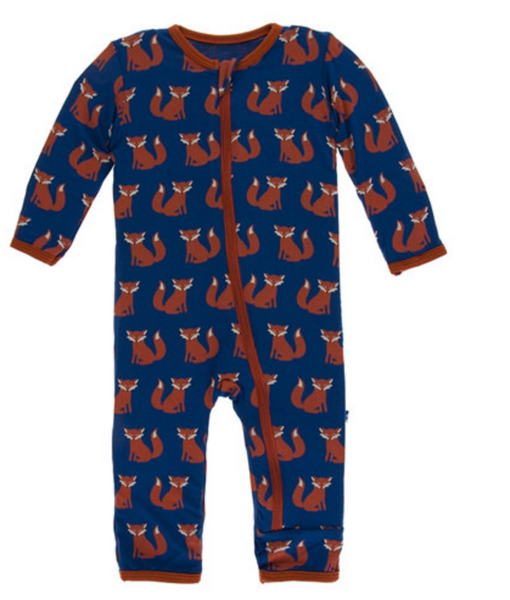 Kickee Pants Print Coverall with Zipper Navy Fox