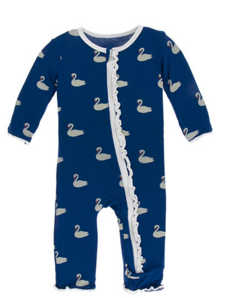 Kickee Pants Print Muffin Ruffle Coverall with Zipper Navy Queen's Swans