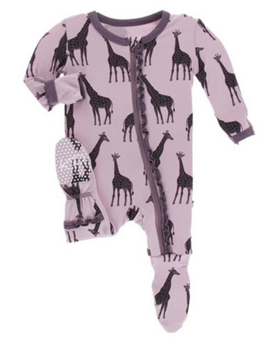 Kickee Pants Print Muffin Ruffle Coverall with Zipper Sweet Pea Giraffe
