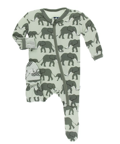 Kickee Pants Print Footie with Zipper Aloe Elephants