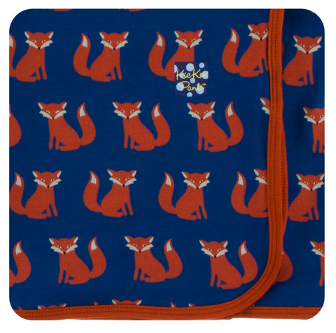 Kickee Pants Print Swaddling Blanket Navy Fox
