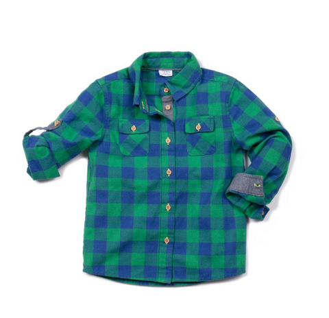 Egg Tyler Shirt Emerald Green Plaid