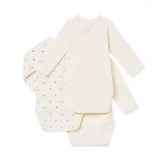 PB Baby 3 PC Set of LS Crossover Bodysuits White Gray