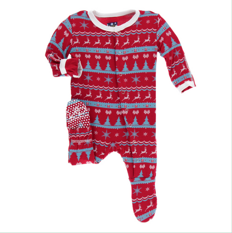 Kickee Pants Holiday Footie with Snaps Nordic Print