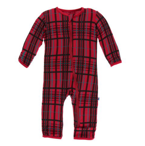 Kickee Pants Holiday Coverall with Zipper Christmas Plaid