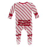 Kickee Pants Holiday Ruffle Footie with Snaps rose Gold Candy Cane Stripe