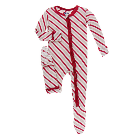 Kickee Pants Print Muffin Ruffle Footie with Zipper Rose Gold Candy Cane Stripe