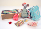 Maileg Cousin Mouse with Clothes set in suitcase