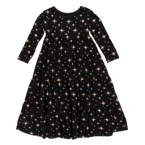 Kickee Pants Holiday LS Tiered Dress Rose Gold Stars