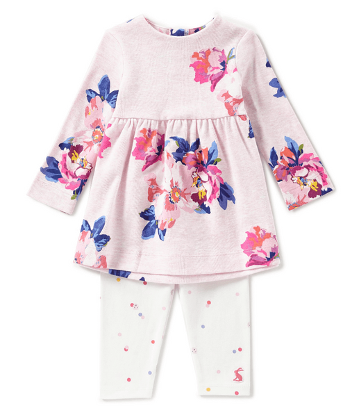 Joules Baby Christina Dress and Leggings Set-PINK MARL GRANNY FLORAL