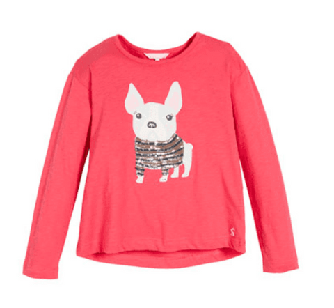 Joules Raya French Bulldog Graphic & Sequin Tee
