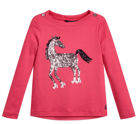 Joules Pink Esme Sequin Horse Long Sleeve T-Shirt