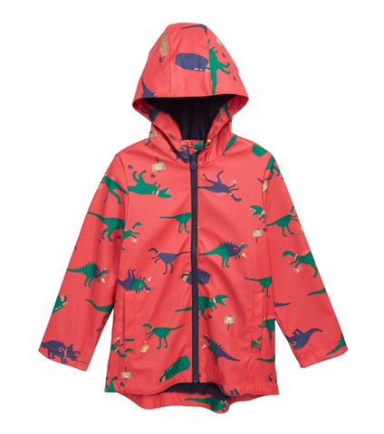 Joules Boy's Waterproof Rubber Coat Dino Red