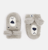 Joules SNUGGLE FLUFFY CHARACTER GLOVES Bear