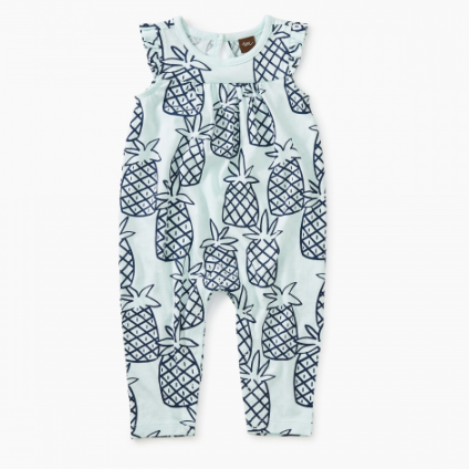 Tea Collection Printed Flutter Romper Pineapples
