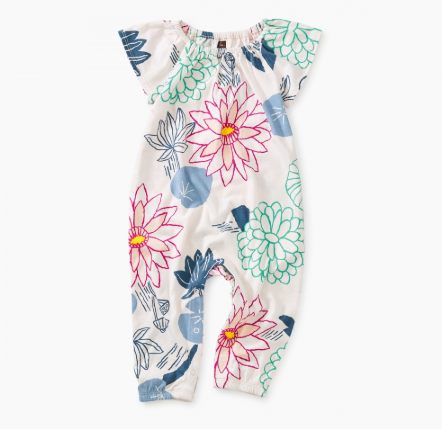 Tea Collection Printed Flutter Sleeve Romper Lilly pad