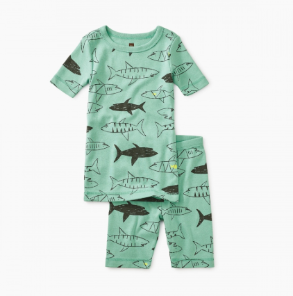 Tea Collection Printed Shortie Pajamas Swimming with Sharks