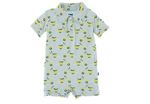 Kickee Pants Print Short Sleeve Polo Romper Spring Sky Scooter