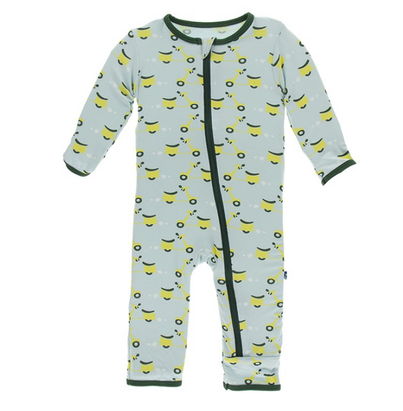 Kickee Pants Print Coverall with Zipper Spring Sky Scooter