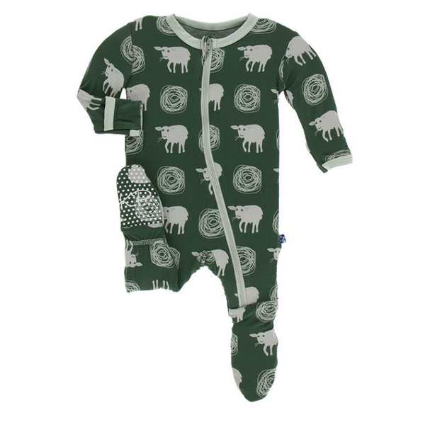 Kickee Pants Print Footie with Zipper Topiary Tuscan Sheep