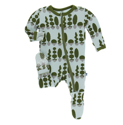 Kickee Pants Print Footie with Zipper Spring Sky Villa Garden