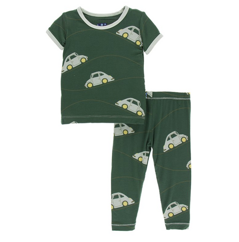 Kickee Pants Print Short Sleeve Pajama Set Topiary Italian Car