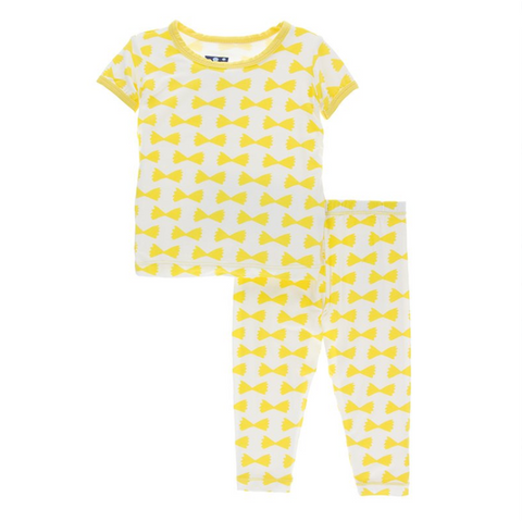 Kickee Pants Print Short Sleeve Pajama Set Natural Farfalle