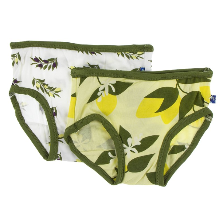 Kickee Pants Girl Underwear Set Lime Blossom Lemon Tree and Natural Olive Branch
