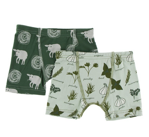 Kickee Pants Boxer Briefs Set Aloe Herbs and Topiary Tuscan Sheep
