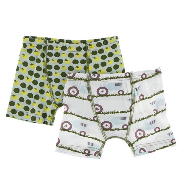 Kickee Pants Boxer Briefs Set Natural Tractor and Grass & Aloe Tomatoes