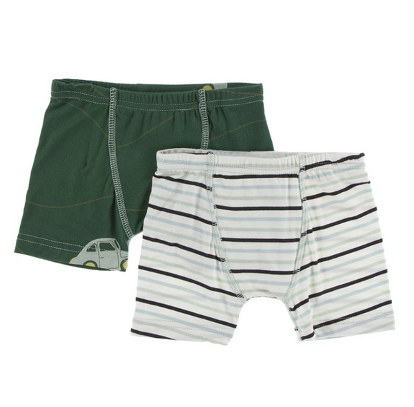 Kickee Pants Boxer Briefs Set Topiary Italian Car and Tuscan Afternoon Stripe