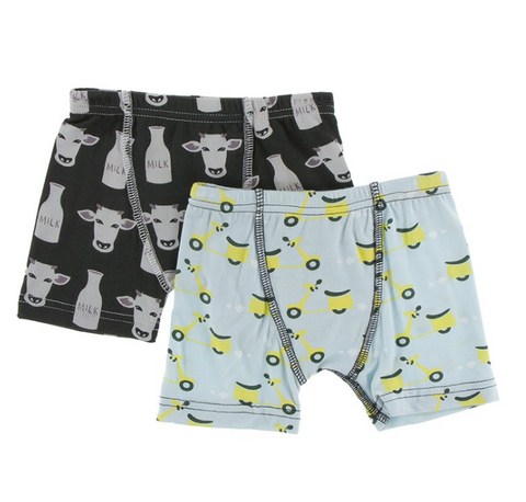 Kickee Pants Boxer Briefs Set Zebra Tuscan Cow and Spring Sky Scooter