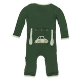 Kickee Pants Applique Print Coverall with Zipper Topiary Italian Car