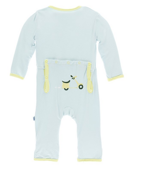 Kickee Pants Applique Print Coverall with Zipper Topiary Spring Sky Scooter