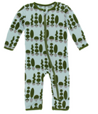 Kickee Pants Print Coverall with Zipper Spring Sky Villa Garden