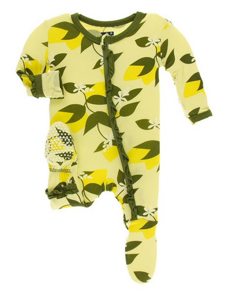 Kickee Pants Print Muffin Ruffle Footie with Zipper Lime Blossom Lemon Tree