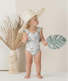 Rylee and Cru Tropical frill onepiece swim