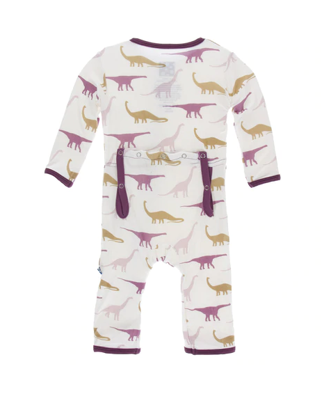Kickee Pants Print Coverall with Zipper Natural Sauropods