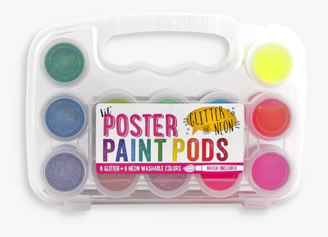 OOLY Lil Poster Paint Pods Neon & Glitter Set of 12