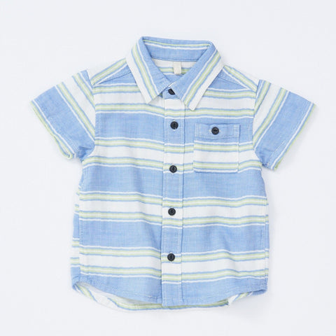 BK Blue and Green Striped Shirt with Collar