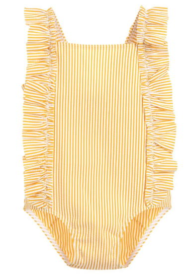 Petit Bateau Baby Girl Yellow Stripe Seersucker Swim Ruffle
