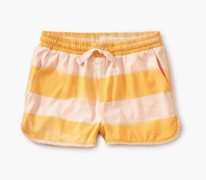 Tea Collection Pom Pom Dolphin Shorts Painted Stripe Seash
