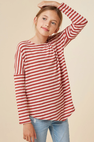 Hayden Stripe Long Sleeve Dolman Top Rose