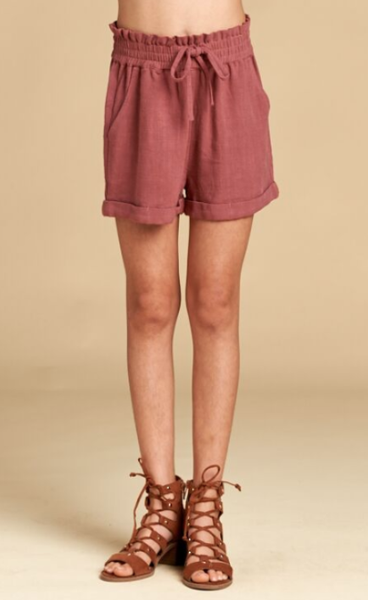 For All Seasons Twill Tie Front Shorts  Mauve